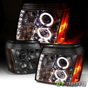 Smoked 2002 2003 Cadillac Escalade Halo Projector Headlights W daytime Drl Led