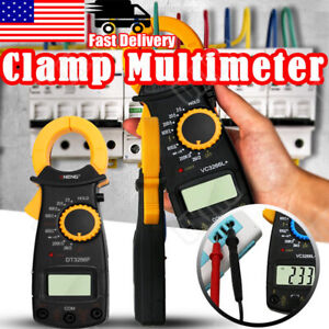 Digital Clamp Meter Multimeter Handheld Dc ac Auto Range Ohm Amp Tester Lcd Trms