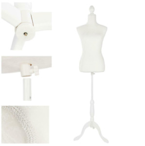Female Mannequin Torso Clothing Dress Form Shop Display W White Tripod Stand