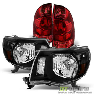 For 2005 2006 2007 2008 Toyota Tacoma Black Headlights Rear Brake Tail Lamps Set