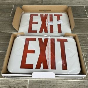 Led Exit Sign Cooper Lighting Apx7r White Plastic Red Letters