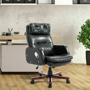 Homcom Armrest Black Computer Swivel Pu Leather Office Chair Adjustable