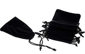 Mini Skater 50pcs Jewelry Velvet Cloth Pouch Black Drawstring Small Bags For X