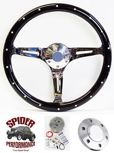 1969 1993 Pontiac Steering Wheel 14 Riveted Black Wood