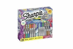 Sharpie 40 Markers Holiday Set Neon Metallic Assorted Colors Ultra Fine Point