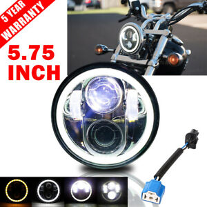 Motorcycle 5 75 5 3 4 Inch Led Headlight Drl Angel Eyes High Low Beam Projector