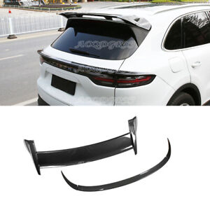 For Porsche Cayenne 2018 2021 Glossy Carbon Look Rear Trunk Spoiler Wing Trim