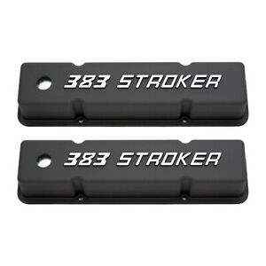 Sb Chevy Tall Black Cast Aluminum Valve Covers W 383 Stroker Logo