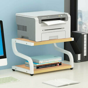 Office Desktop Printer Cart With Anti skid Pads Storage Shelf Double Tier Tables