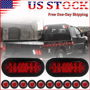 2x Red 6 Truck Trailer Oval Led Lights 24 Led Stop Turn Tail Sealed Light