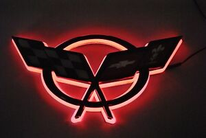 Red Glowing Light Up Led Crossed Flags Front Rear Emblem Fits Chevy C5 Corvette