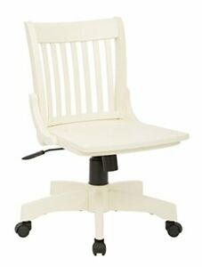 Deluxe Wood Bankers Armless Desk Chair With Wood Seat Antique White
