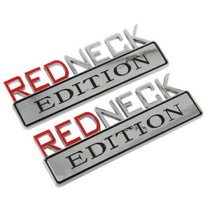 2pc 7 Chrome Redneck Edition Logo Emblem Decal Red Neck Sign Truck Boat Car