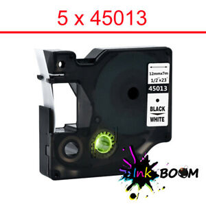 5 Label Compatible Dymo D1 45013 Tape Black On White Labelmanager 160 280 420p