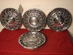 75 85 Cadillac Fleetwood Deville Wire Hubcaps Nice