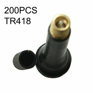 200pc Tr418 Black Rubber Standard 2 Snap In Tubeless Tire Valve Stems