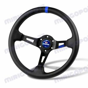 Blue Line 350mm Racing Steering Wheel Microfiber Leather For Blue Momo Hub X1