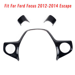 Carbon Fiber Style Steering Wheel Cover Trim Fit For Ford Focus 2012 2014 Escape