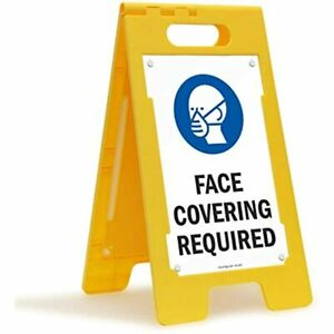 Face Covering Required Folding Floor Sign 25 quot X 12 quot Plastic Industrial