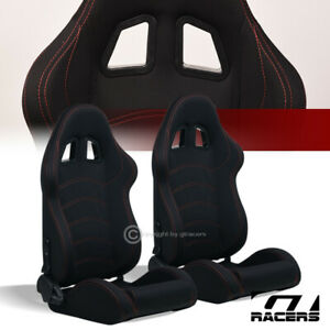 Universal 2pc T R Blk Woven Cloth Red Stitch Reclinable Racing Bucket Seats G14n