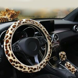 Car Steering Wheel Cover Leopard Print Set Universal Protector Portable