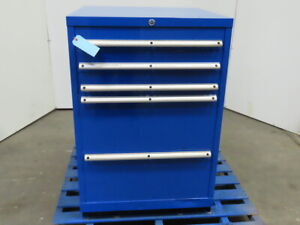 5 Drawer Industrial Parts Tool Storage Shop Cabinet 28 1 4 w X 28 d X 42 h