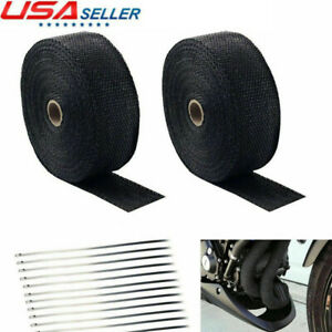 2 Roll 2 50ft Black Fiberglass Exhaust Header Pipe Heat Wrap Tape 20 Ties Kit