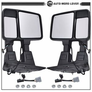 Pair Super Duty Towing Mirrors Power Heated Amber Signal For 99 07 Ford F250 f55