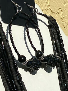 COOKIE LEE SET Necklace Earring Really Stunning Black amp; Charcoal Seed Beads $8.99