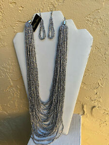 COOKIE LEE SET Necklace 19 21quot; Earring Drop Dangle 2 1 2quot; Silver Seed Beads $8.99