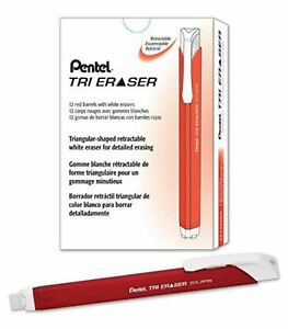 New Pentel Tri Retractable White Eraser Red Barrel 12 pack Box Ze15mb Triangular