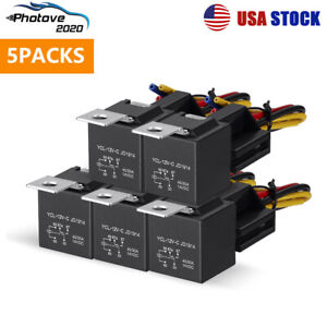 5pin Automotive Car Relay 40a 12vdc 12awg Switch Harness Socket Waterproof