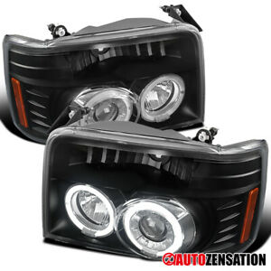 For 1992 1996 Ford F150 F250 F350 Bronco Black Halo Rims Projector Headlights