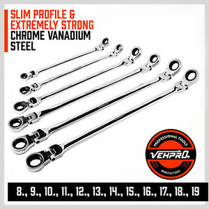 6pc Flex head Double Box End Ratcheting Wrenches Extra Long Metric Universal