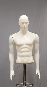 Male Torso Form Mannequin Display Bust W detachable Arms Separated Fingers