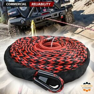 92 X 1 2 22000lb Synthetic Nylon Winch Rope Line Cable W Protective Black Red
