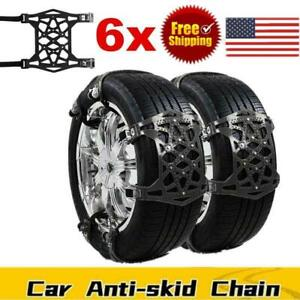 6x Wheel Tire Snow Chains For Car Truck Suv Thickened Anti Skid Emergency Strap