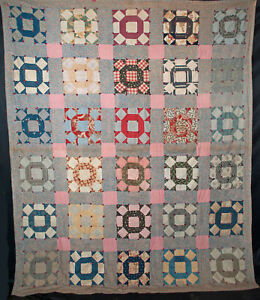 Vintage Patchwork Quilt 1930 S Crown Of Thorns Tied 84 X 70 1 2
