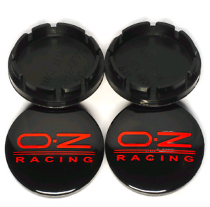 4pcs 56 Mm For Oz Racing Black Red Alloy Wheel Center Caps Hub Caps Rim Caps