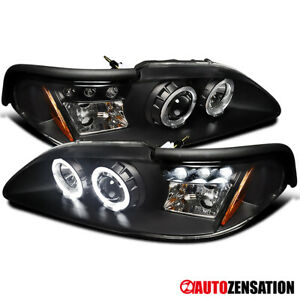 For 94 98 Ford Mustang Led Drl Black Halo Rim Projector Headlights Lamps Pair