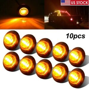 10x Round 3 4 Amber Led Clearance Marker Bullet Auto Truck Trailer Lights Lamp