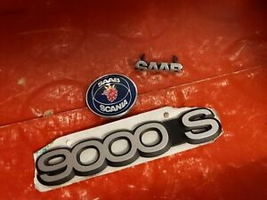 Vintage Saab Emblem Nameplate Badge 9000 S Hood Ornament Lot