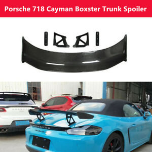 Fit Porsche 718 Cayman Boxster Real Carbon Fiber Trunk Spoiler Rear Wing G Style