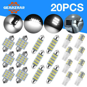 20x Combo Led Car Interior Inside Light Dome Map Door License Plate White Us