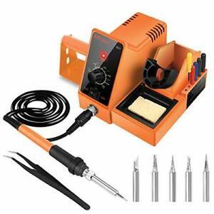 Soldering Iron Station 60 watt Deluxe 1 Solder Tip 5 Extra Tips tweezer