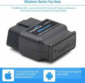 Veepeak Obdcheck Ble Bluetooth 4 0 Obd2 Scanner Code Reader For Ios Android