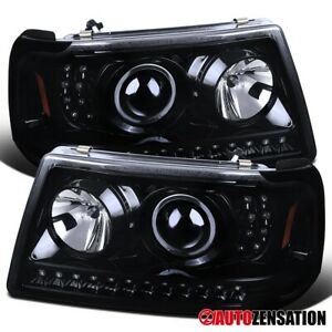 For 2001 2011 Ford Ranger Led Drl Strip Glossy Black Smoke Projector Headlights