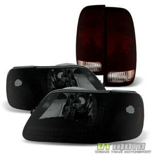 For 1997 2003 Ford F150 Black Smoke Headlights W corner Signal Lamps tail Lights