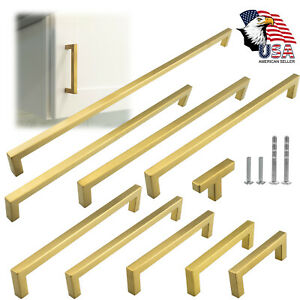 Gold Square Brushed Satin Brass Cabinet Handles Pulls Kitchen Stainless Steel $69.38