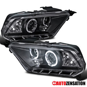 For 2010 2014 Ford Mustang Black Led Halo Projector Headlights Lamps 11 12 13